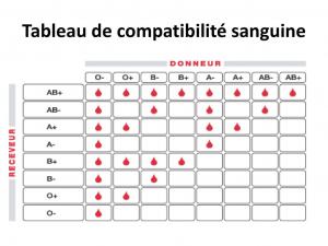Tableau de compatibilité sanguine